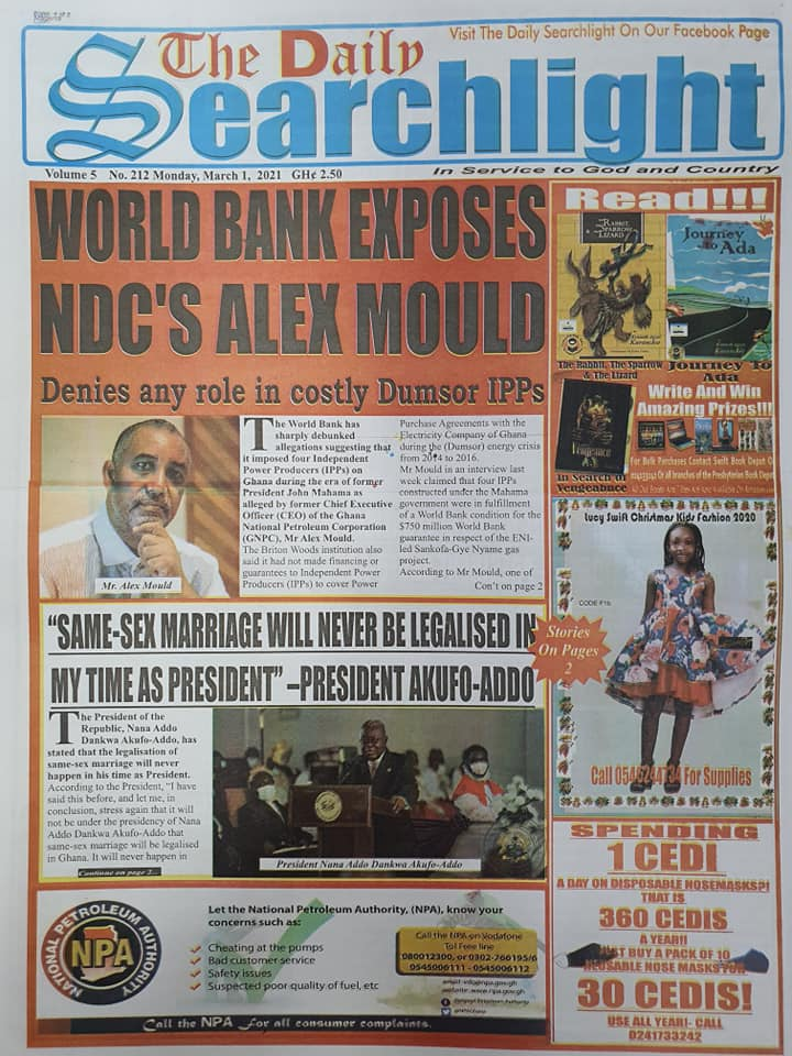 Newspaper Headlines of Monday, 1 March 2020 105