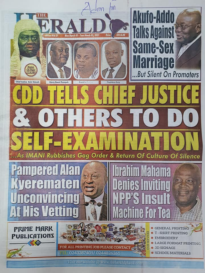 Newspaper Headlines of Monday, 1 March 2020 100