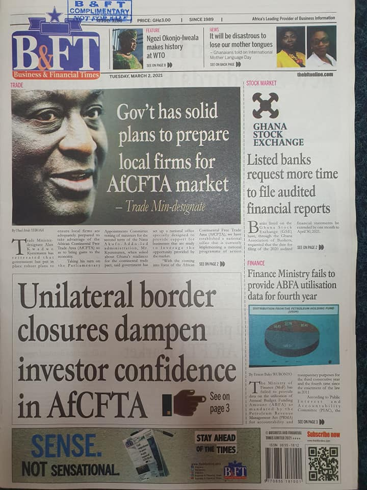 Newspaper headlines of Tuesday, March 2, 2021 8