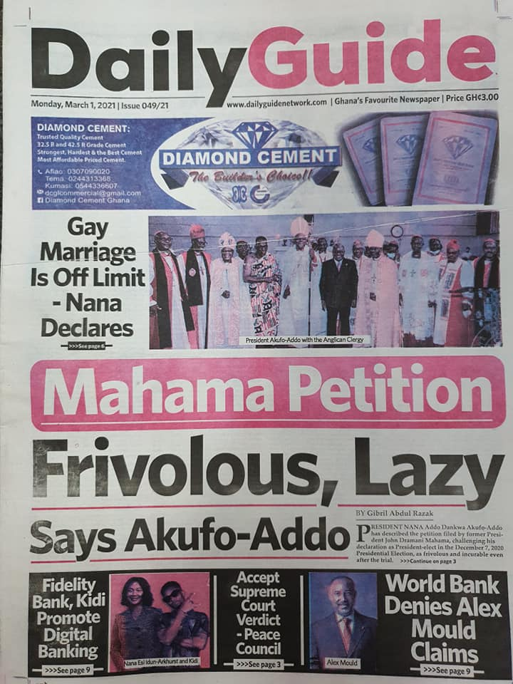 Newspaper Headlines of Monday, 1 March 2020 91