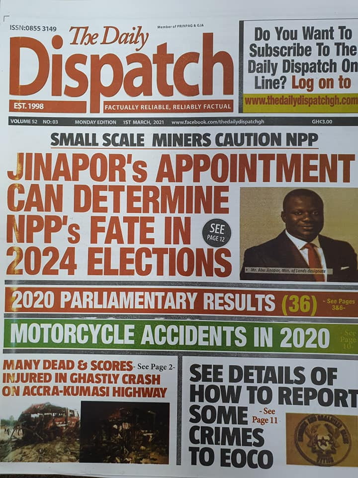 Newspaper Headlines of Monday, 1 March 2020 96