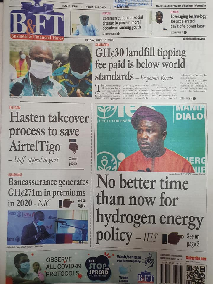 Newspaper headlines; Friday 16th April, 2021. 99
