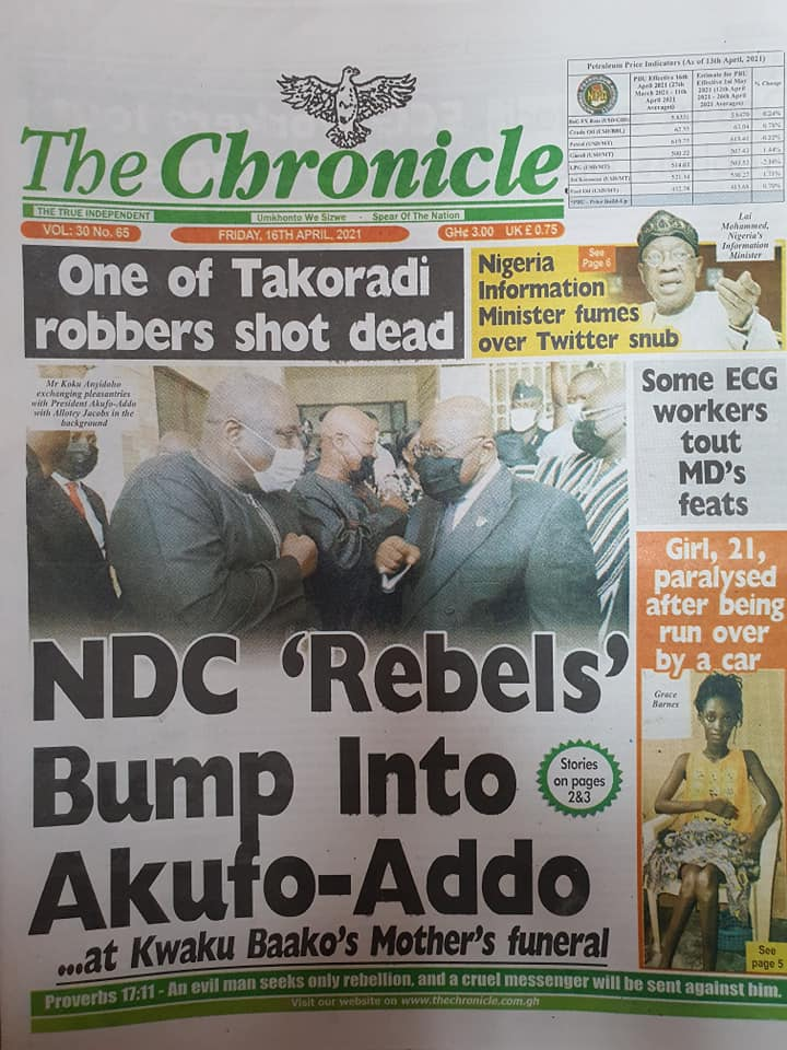 Newspaper headlines; Friday 16th April, 2021. 96
