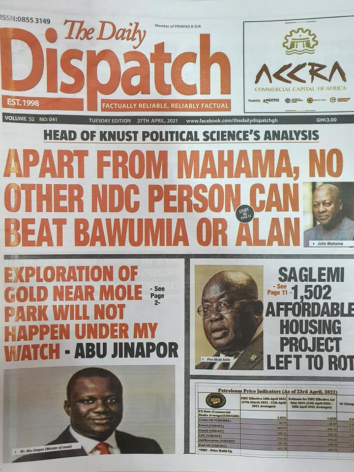 Newspaper headlines; Tuesday, May 4, 2021. 71