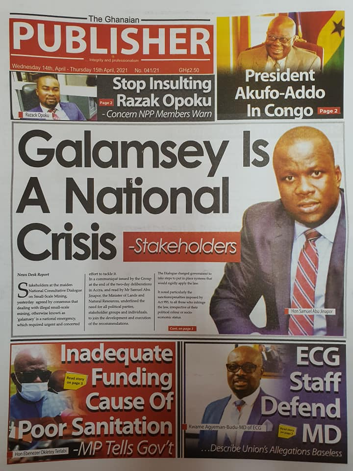 Newspaper headlines; Friday 16th April, 2021. 95