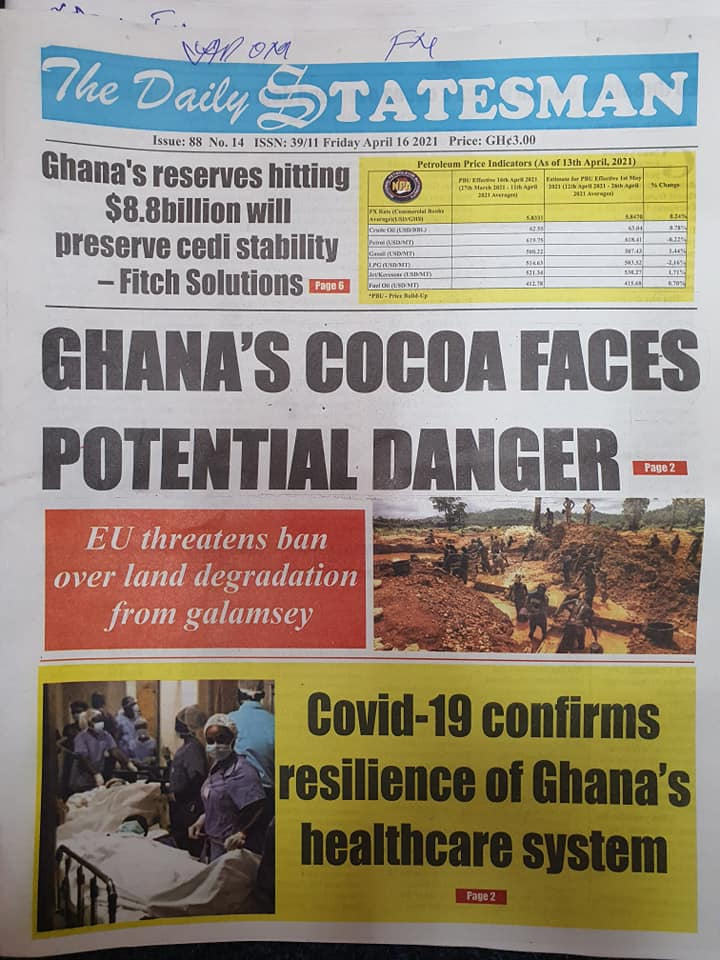 Newspaper headlines; Friday 16th April, 2021. 104