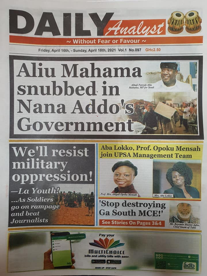 Newspaper headlines; Friday 16th April, 2021. 87