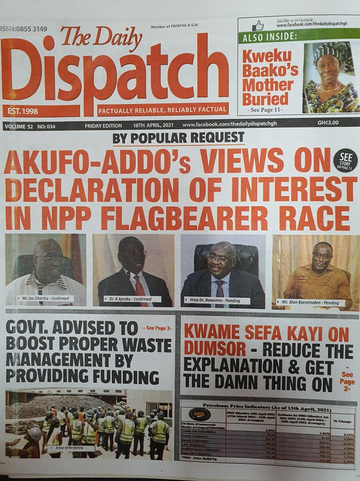 Newspaper headlines; Friday 16th April, 2021. 98
