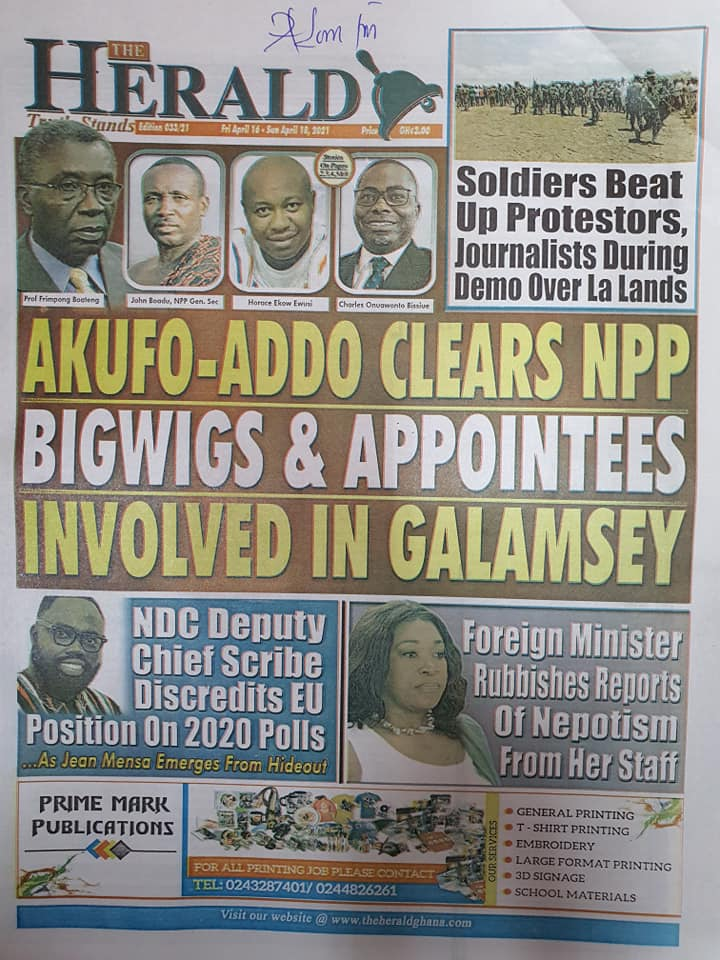 Newspaper headlines; Friday 16th April, 2021. 93
