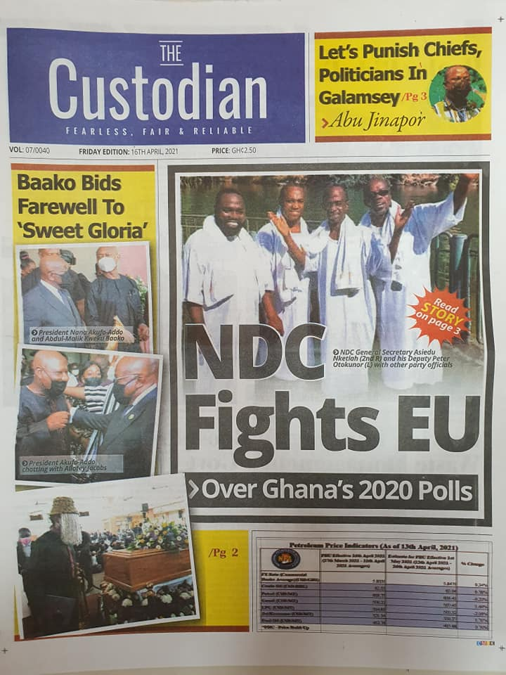 Newspaper headlines; Friday 16th April, 2021. 86