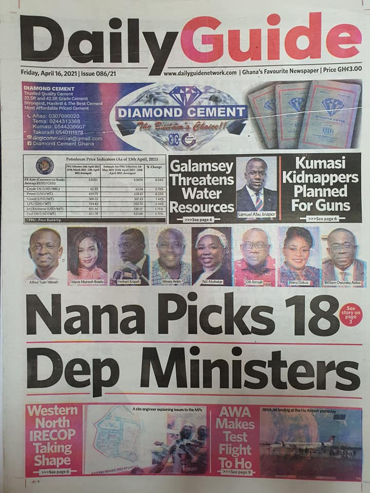 Newspaper headlines; Friday 16th April, 2021. 90