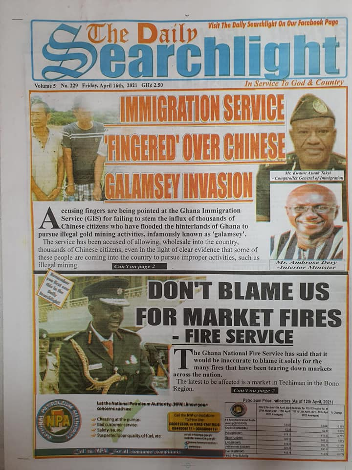 Newspaper headlines; Friday 16th April, 2021. 94