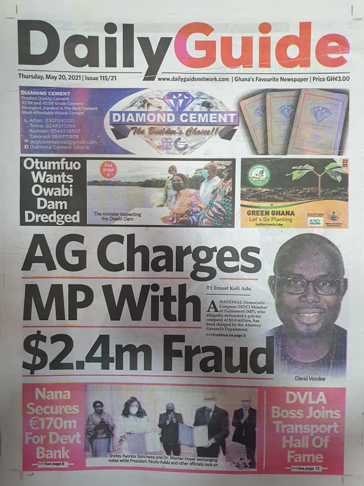 Newspaper headlines of Thursday, May 20, 2021. 117