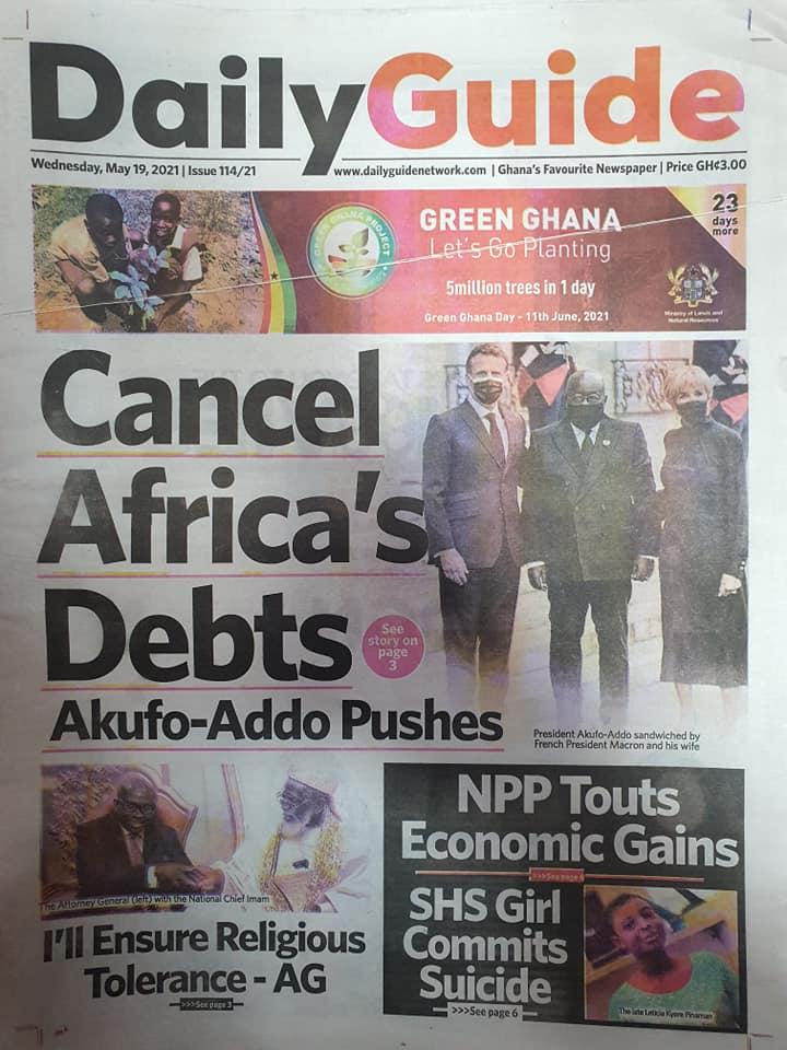 Newspaper headlines of Wednesday, May 19, 2021. 141