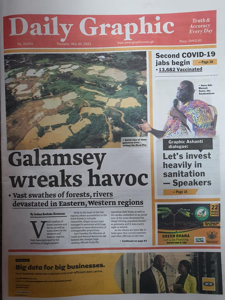 Newspaper headlines of Thursday, May 20, 2021. 112