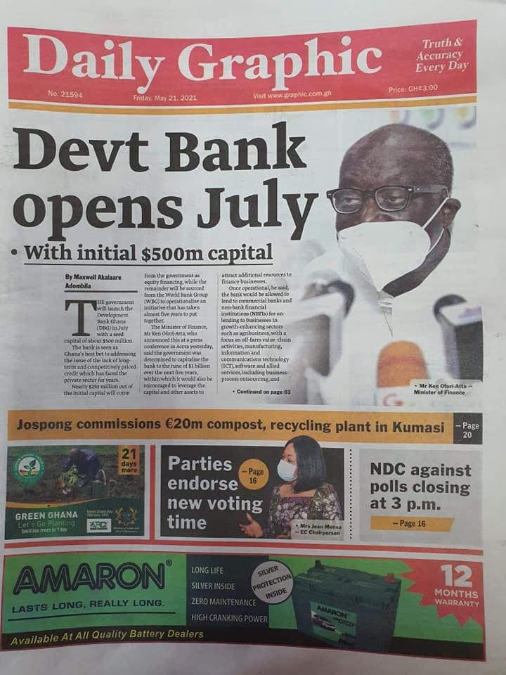 Newspaper headlines of Friday, May 21, 2021. 144