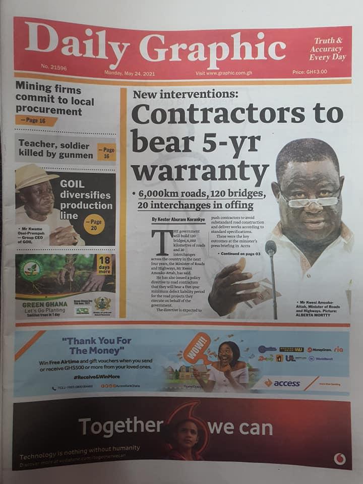 Newspaper headlines: Monday, May 24th ,2021. 151