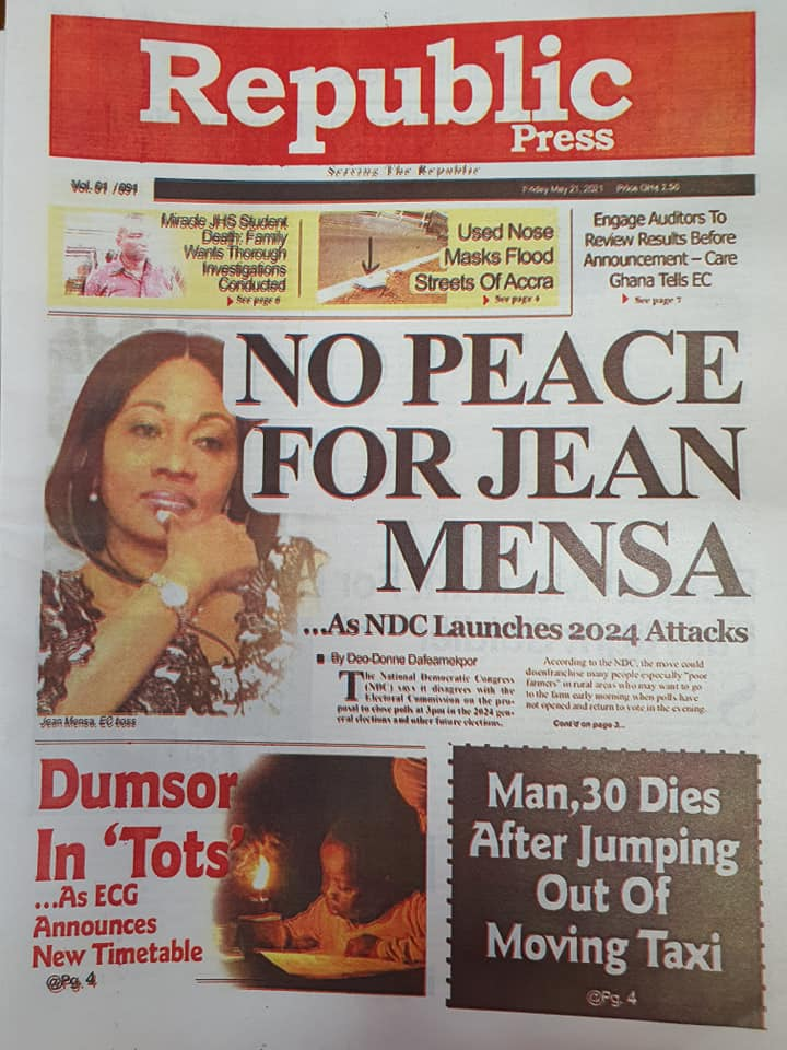 Newspaper headlines of Friday, May 21, 2021. 150