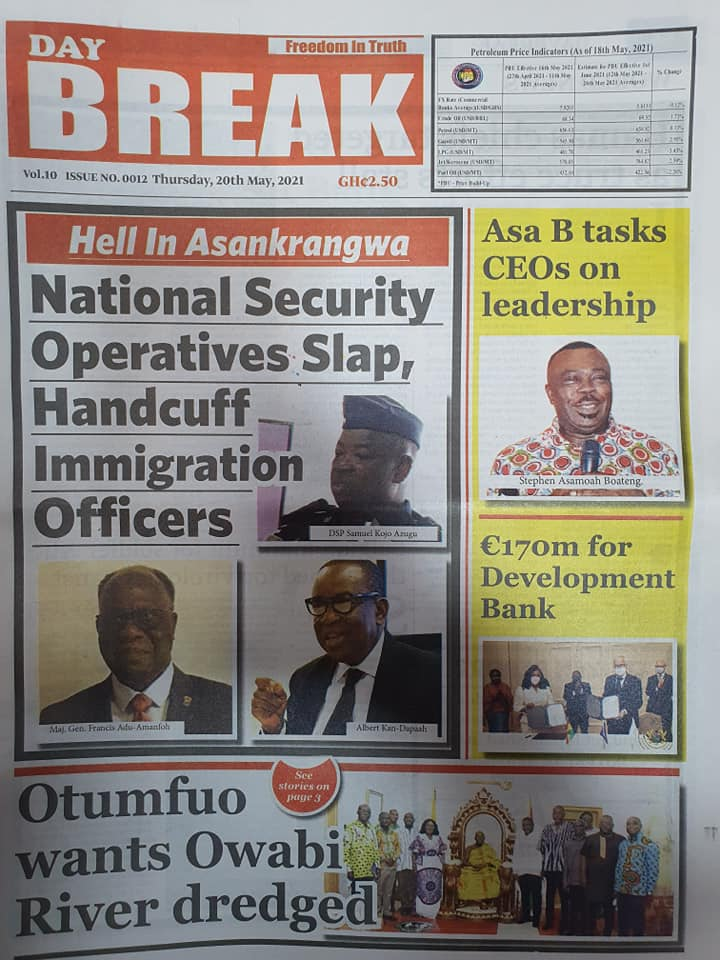 Newspaper headlines of Thursday, May 20, 2021. 114
