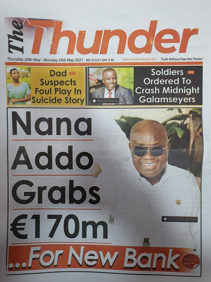 Newspaper headlines of Thursday, May 20, 2021. 115