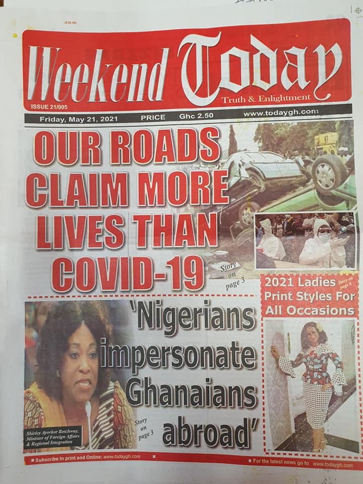 Newspaper headlines of Friday, May 21, 2021. 142