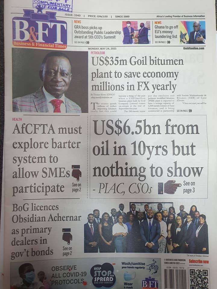 Newspaper headlines: Monday, May 24th ,2021. 140