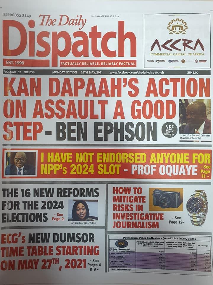 Newspaper headlines: Monday, May 24th ,2021. 146