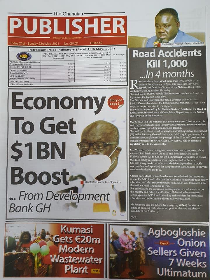 Newspaper headlines of Friday, May 21, 2021. 140