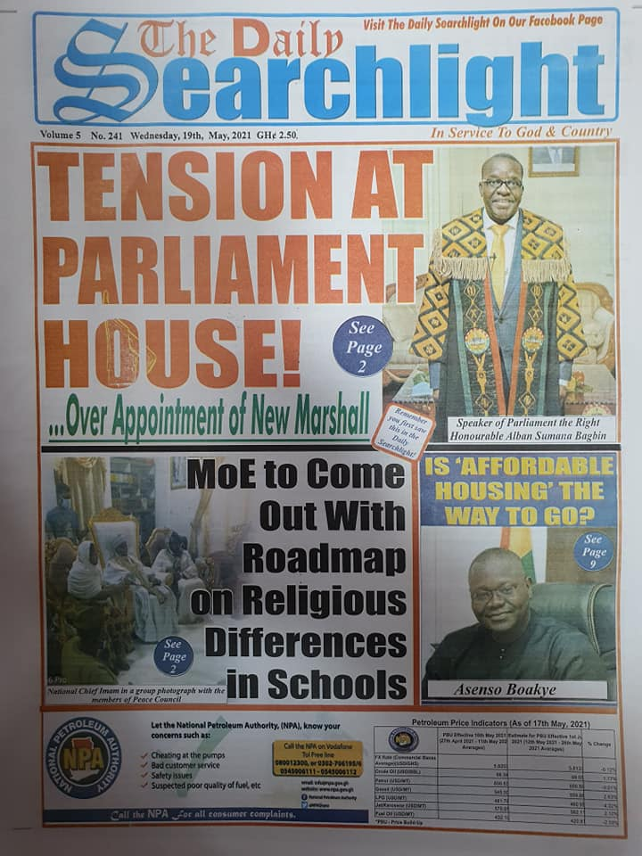 Newspaper headlines of Wednesday, May 19, 2021. 137
