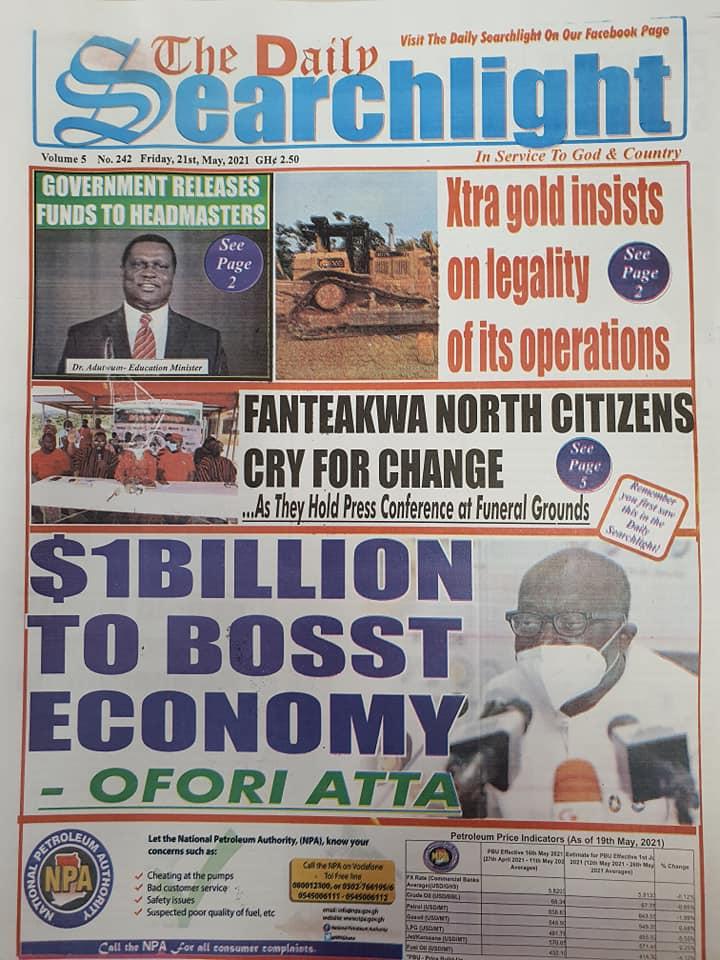Newspaper headlines of Friday, May 21, 2021. 133