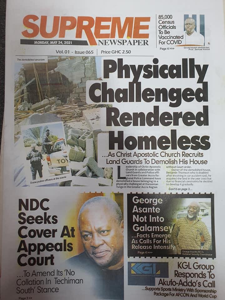 Newspaper headlines: Monday, May 24th ,2021. 148