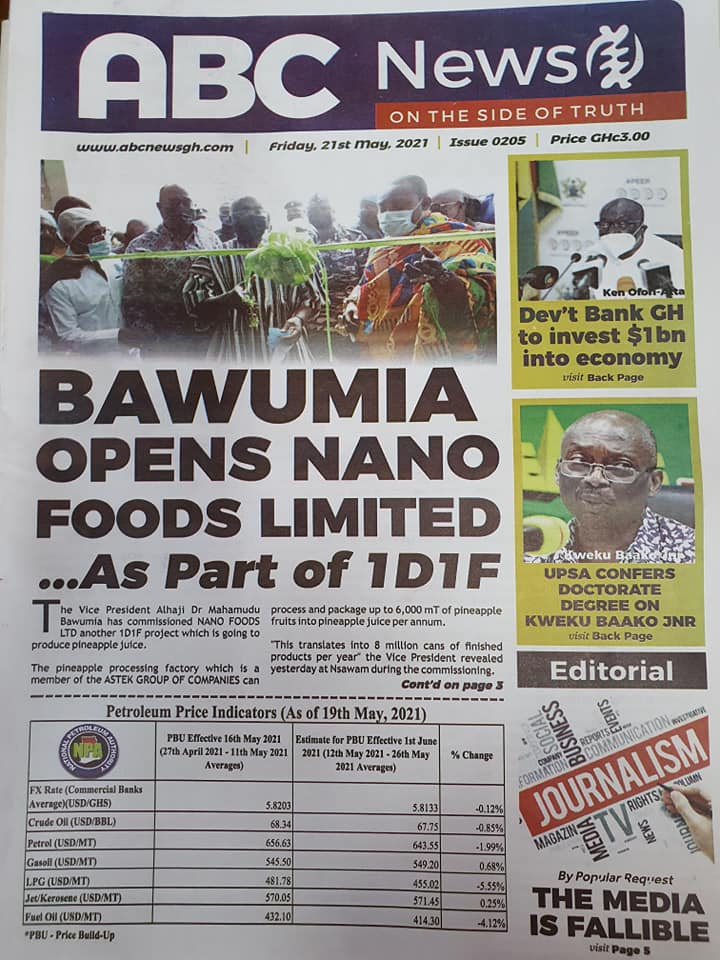 Newspaper headlines of Friday, May 21, 2021. 136