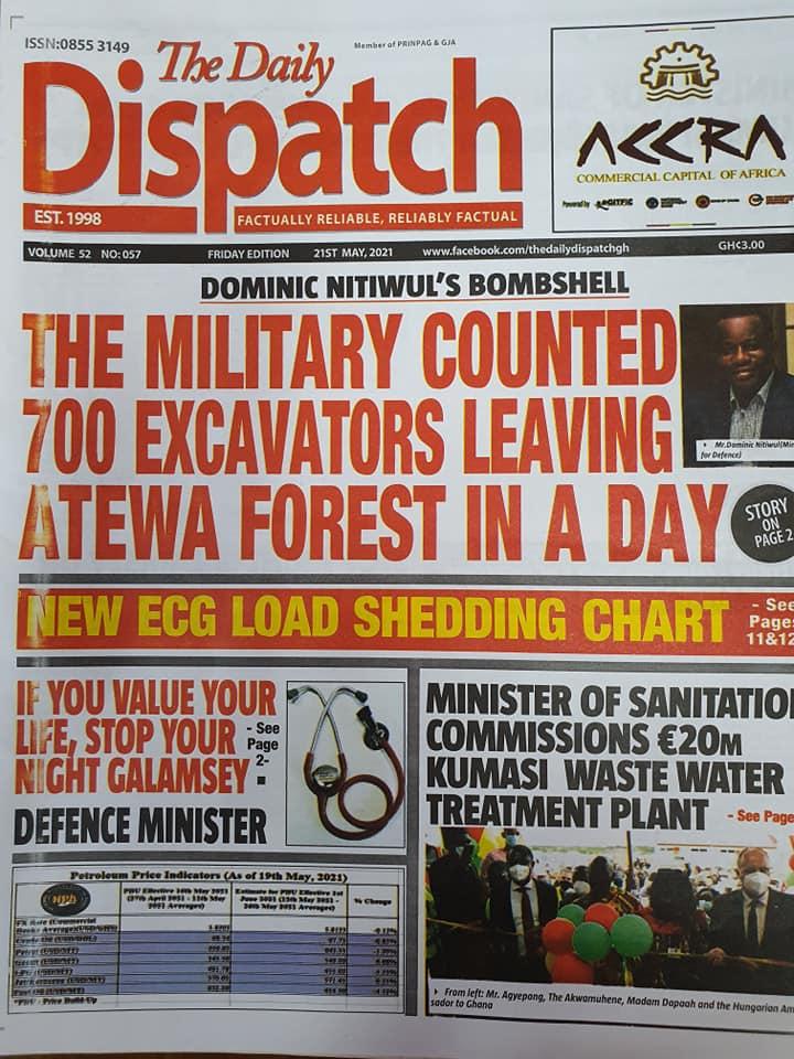 Newspaper headlines of Friday, May 21, 2021. 135