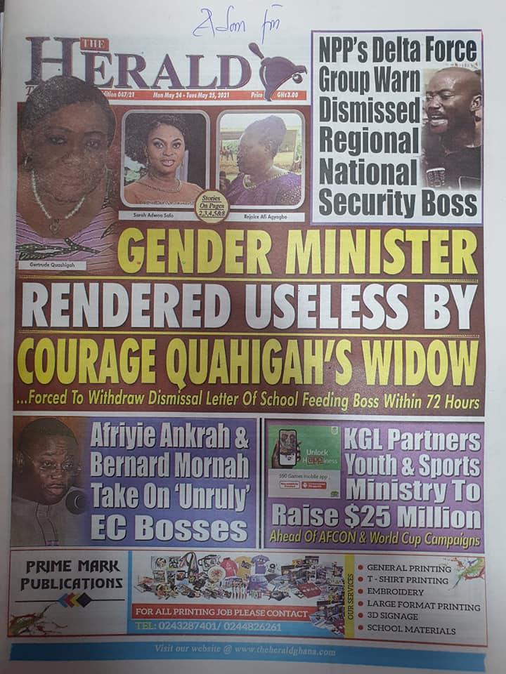 Newspaper headlines: Monday, May 24th ,2021. 150