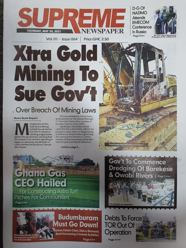 Newspaper headlines of Thursday, May 20, 2021. 110