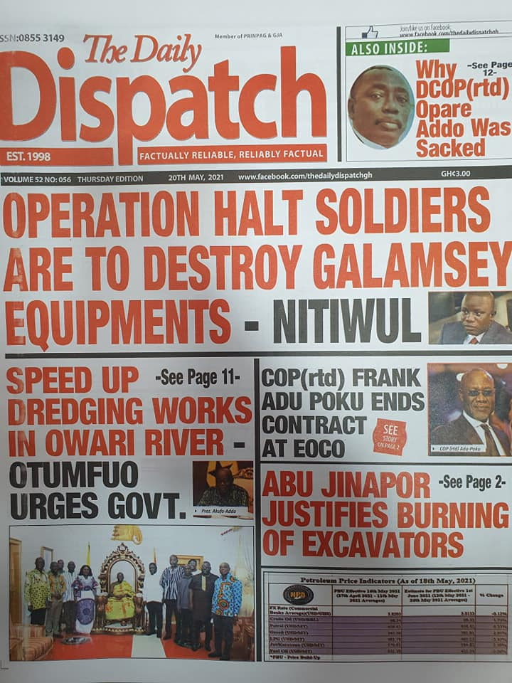 Newspaper headlines of Thursday, May 20, 2021. 109