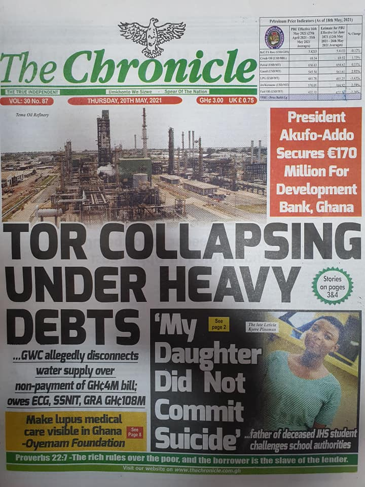 Newspaper headlines of Thursday, May 20, 2021. 116