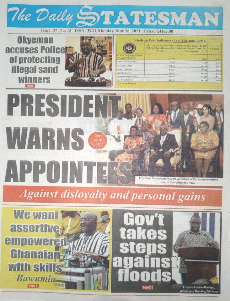 Newspaper Headlines Of Monday, June 28th, 2021. 102