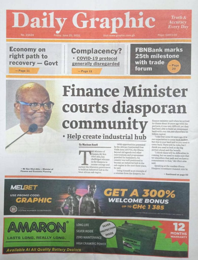 Newspaper headlines of Today, Friday June 25, 2021. 150