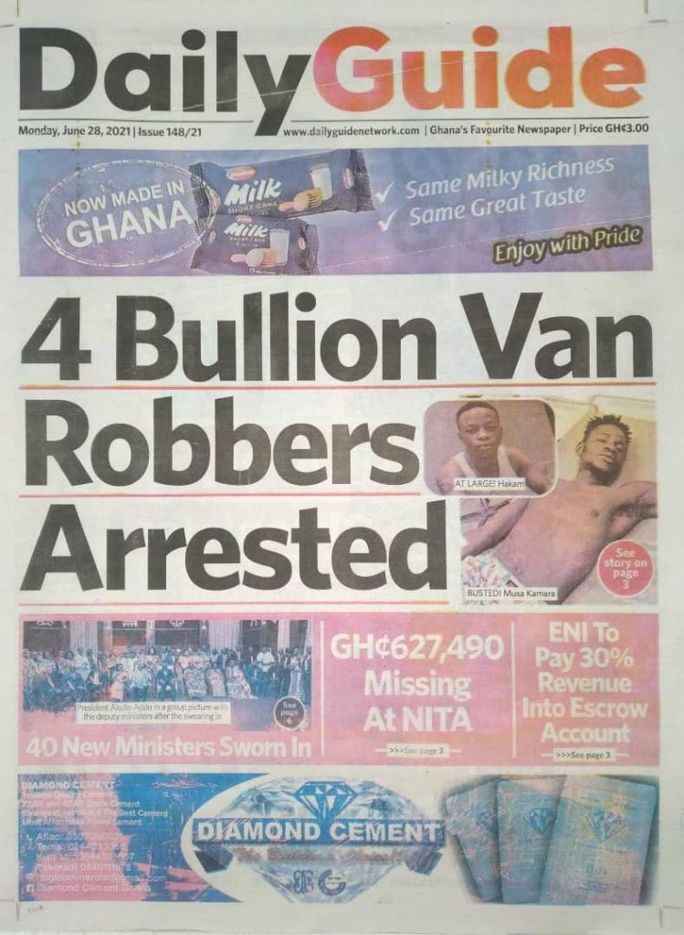 Newspaper Headlines Of Monday, June 28th, 2021. 103