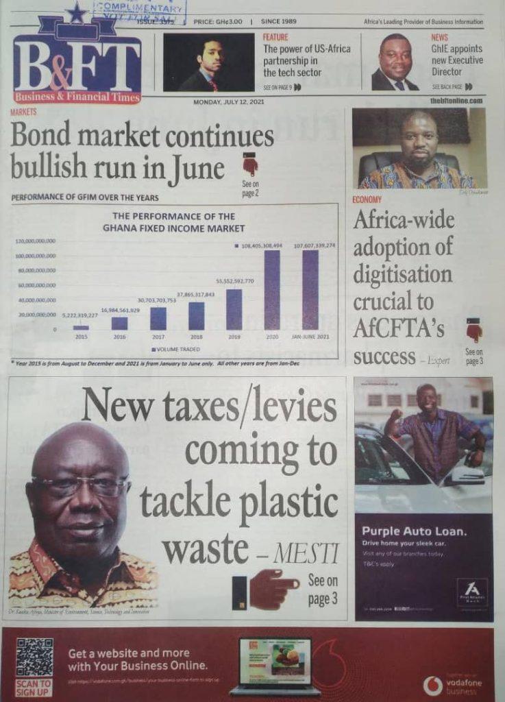 Newspaper headlines; Monday July 12 ,2021. 105