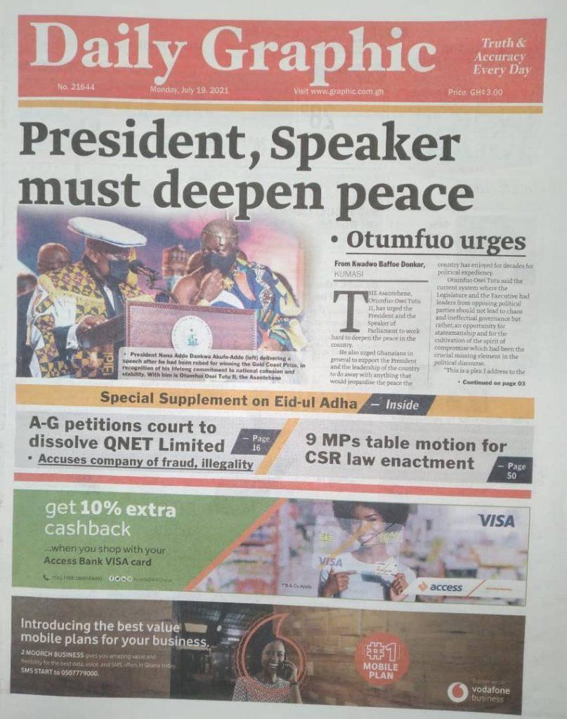Newspaper Headlines Monday , July 19, 2021. 128