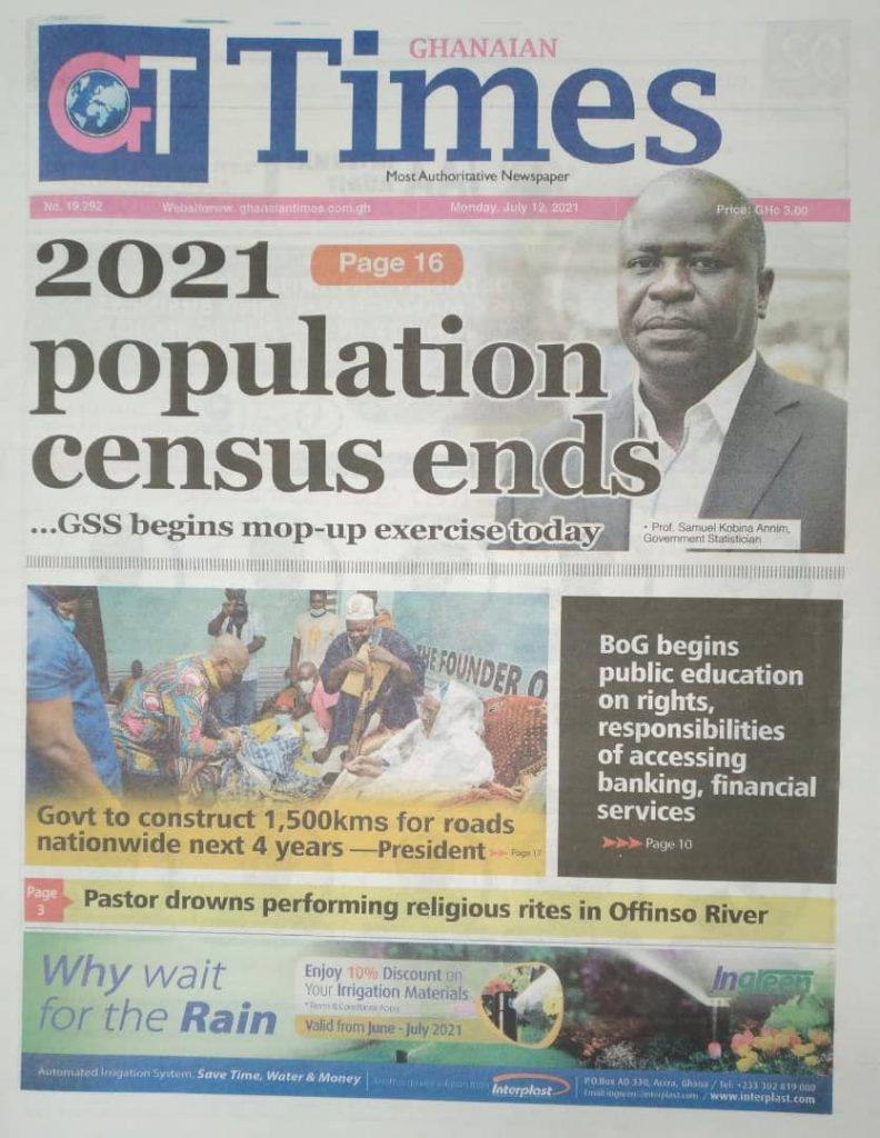 Newspaper headlines; Monday July 12 ,2021. 108