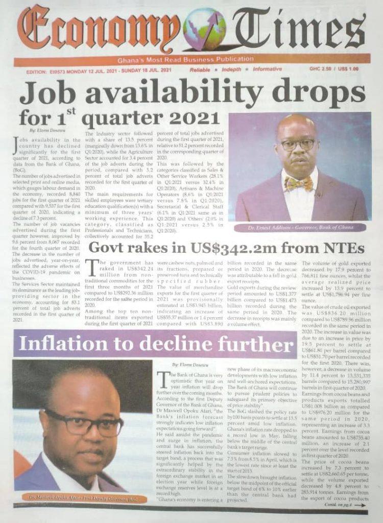 Newspaper headlines; Monday July 12 ,2021. 110