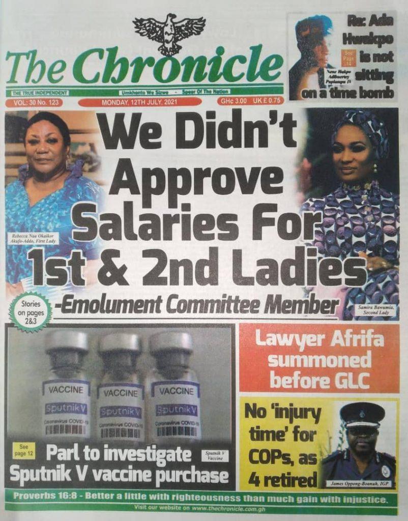 Newspaper headlines; Monday July 12 ,2021. 99