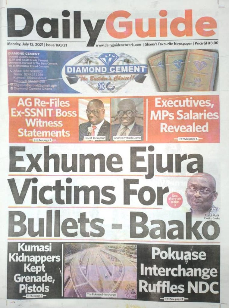 Newspaper headlines; Monday July 12 ,2021. 104