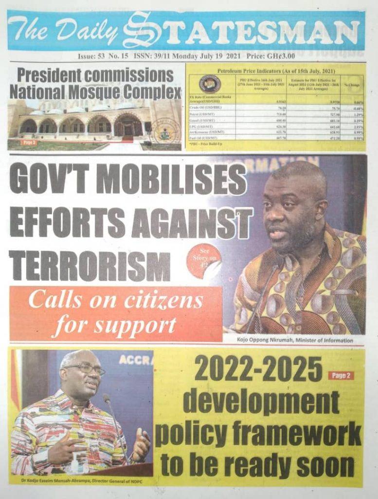 Newspaper Headlines Monday , July 19, 2021. 125