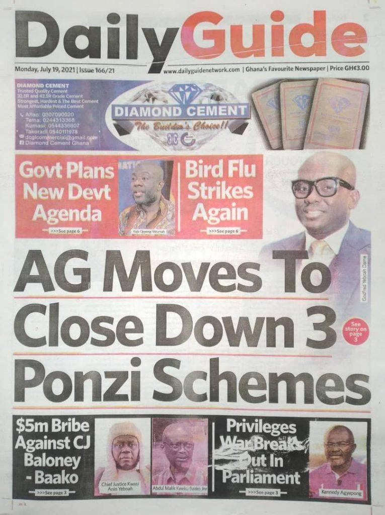 Newspaper Headlines Monday , July 19, 2021. 130