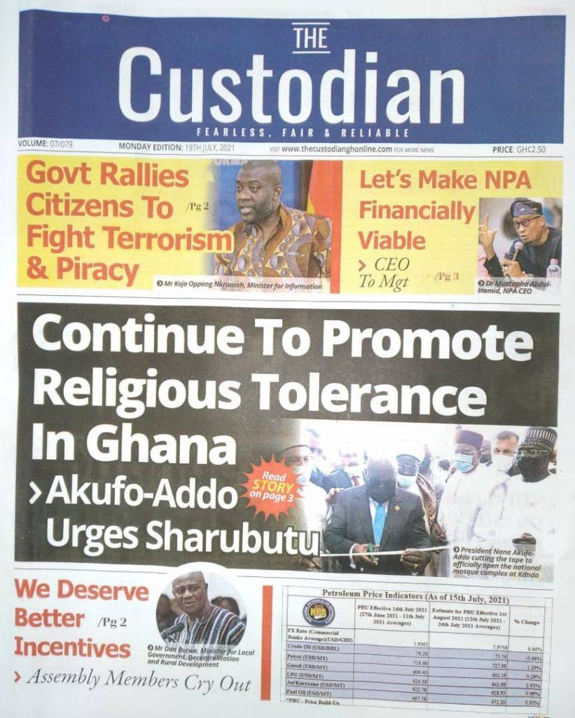 Newspaper Headlines Monday , July 19, 2021. 129