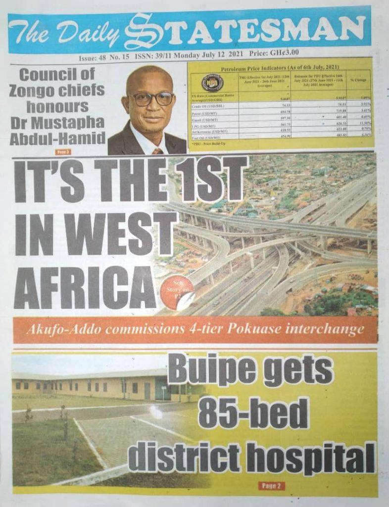 Newspaper headlines; Monday July 12 ,2021. 100